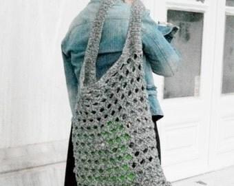 Large grey crochet hobo bag