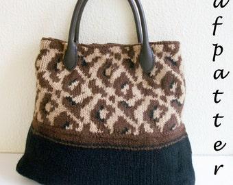 Trendy leopard-print handbag PDF pattern knitting pattern
