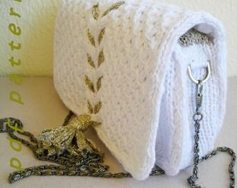 White knit clutch with golden tassel PDF pattern