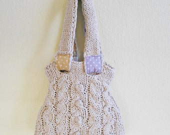 Ecru tote bag, hand kinitted, cable bubbles patterned, wheat coton yarn, ecp friendly, boho style purse, dotted, medium size bag