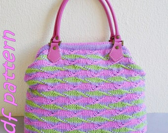 pdf pattern for knitted textured-striped bag