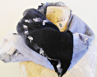 Unisex felt scarf in shades of black, grey and white  reversible