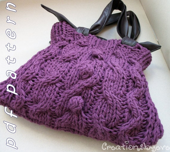 Chunky knitted bag with cables and bobbles - pdf pattern