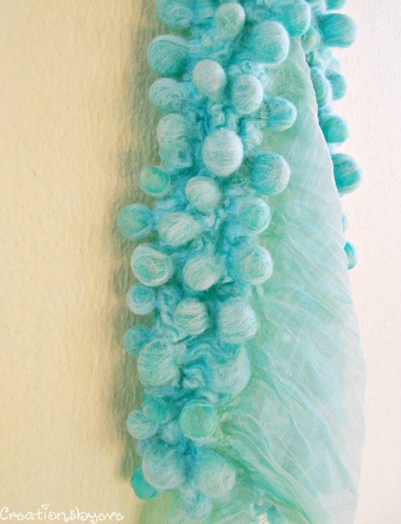 Mint nuno felt shibori scarf