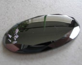 Genuine Hematite Cabochon Vintage Faceted Gemstone Cabochon 30mm x 15mm Oval For Jewelry Making