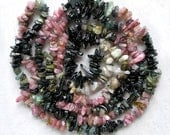 Watermelon Tourmaline Beads- Multicolor Gemstone Nugget Chip Beads- For Beaded Jewelry Making