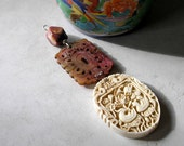 Feng Shui House Ornament Pendant- Carved Bone, Carved Jade, Faceted Mookaite Gemstone Pendant For Home Decor
