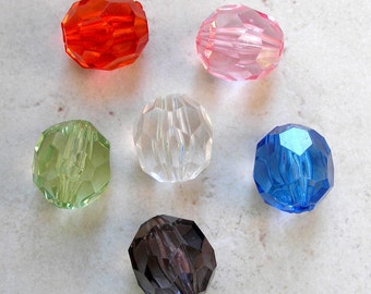 Vintage Acrylic Beads and Earrings- Multicolor Faceted Acrylic Beads