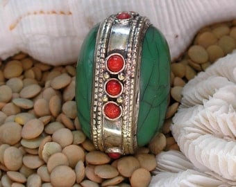 Tibetan Bead- Gemstone Focal Green Crackle Resin, Red Coral, Sterling Silver For Jewelry Making
