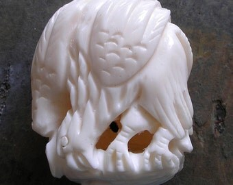 Carved Bone Eagle Bead- Vintage Bone Bead For Jewelry Making