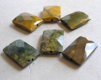 Ocean Jasper Beads Faceted Gemstone Rectangle For Beaded Jewelry Making