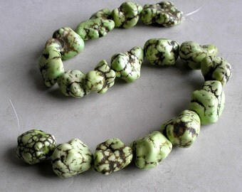 Magnesite Beads Lime Green Large Nugget Gemstone Full Strand Beads For Jewelry Making Metaphysical Healing Stone