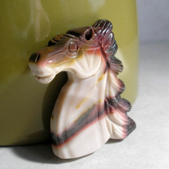 Mookaite Carved Horse Pendant Bead