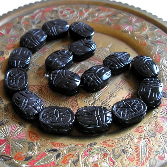 RESERVED FOR Scrimson Knot- Black Onyx Scarab Bead- Large Carved Focal Beads