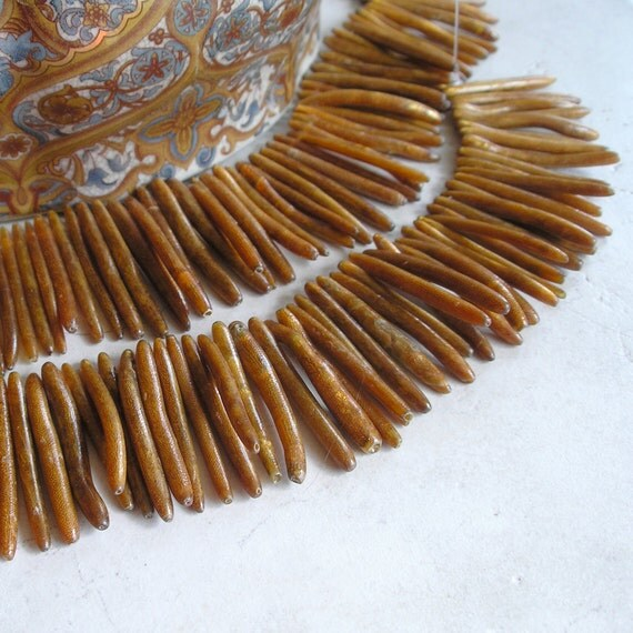Gold Branch Coral Stick Beads