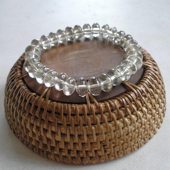 Quartz Rock Crystal Rondelle Beads- 10mm Rondelle Beads