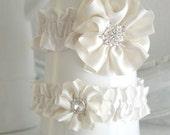 Ivory Ribbon Flower Garter Set