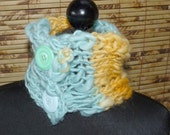 Hand Knit Cowl Scarflette Hand Spun Wool