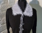 Silver Fuzzy Knitted Collar