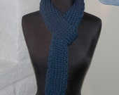 HAND KNITTED  Front Porch Scarf Deep Water Blue