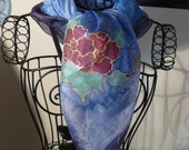 Hand Painted Silk Scarf FLOWERS