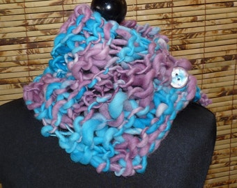 KNITTED Hand Spun Wool Neckwarmer Purple Blues
