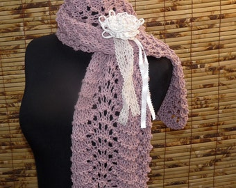 Hand Knitted Scarf  ANTIQUE ROSE