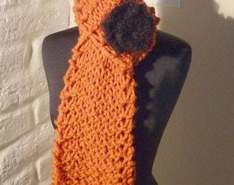 Hand Knitted SCARF LENA Pumpkin