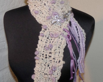 Hand Knitted Scarf  PURPLE MOON