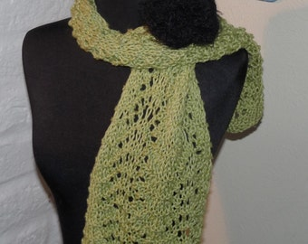 Hand Knitted Lace Scarf  HONEY DEW