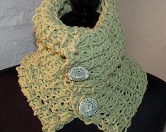 Hand Knitted Scarflette Cowl  HONEY DEW