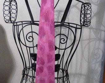 Hand Painted Silk Neck Tie Bubblegum Pink