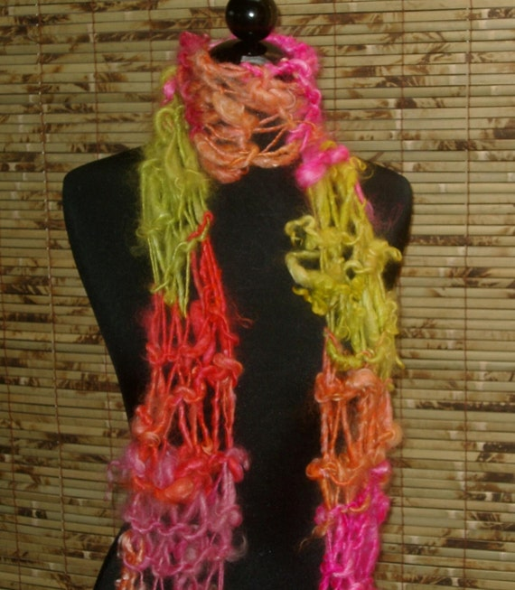 Scarf Hand Knitted Wool GOLDY LOCKS