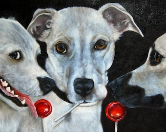 White Dogs and Tootsie Pops Original Oil on Canvas