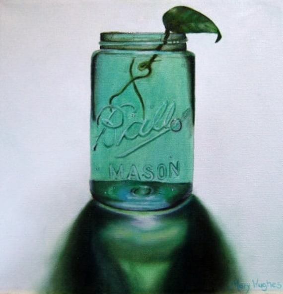 Antique Ball Mason Jar Oil Painting, blue, green