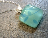 Dainty necklace, Mint green glass pendant, Fused Glass Jewelry