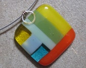 Fused Glass pendant, Color block in bright Colors, Geometric necklace