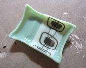 Mint green soap dish, Mid Century Modern Bathroom Decor, Glass Soap Dish