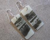 Feather print Earrings, Black and white earrings, Dangle earrings