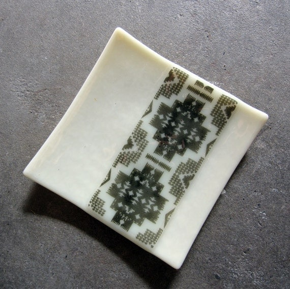 Tribal print Glass Candle Holder, Glass Soap Dish, Fused Glass Plate