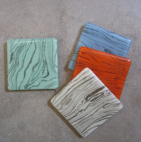 Colorful Fused glass coasters, Glass home decor, Faux bois Print