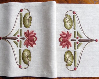 Water Lily Table Scarf, Craftsman, Mission Style, Hand Embroidered