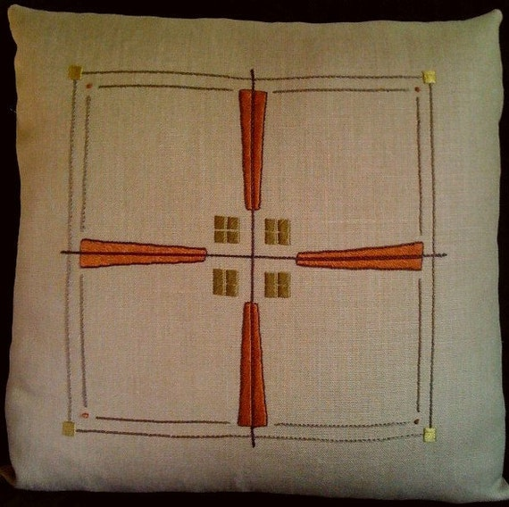 Craftsman Mission Stylized pillow, Hand Embroidered