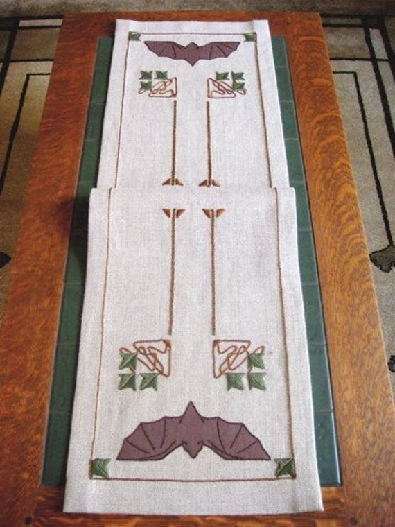 Bat Motif Table Scarf Craftsman Style Hand Embroidered