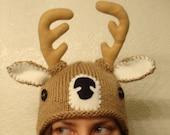 DEER hand knit hat --- bobcat hats
