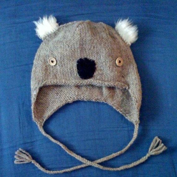 Koala Hat Knitting Pattern Free : KOALA hand knit hat bobcathats