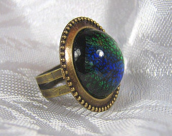 Antiqued Brass Cocktail Ring / Blue Opal Glass Ring / Adjustable Ring / Blue and Brass Ring