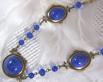 Brass Necklace With Lapis Blue Glass Cabochons And Sapphire Glass Beads / Art Deco Style Necklace / Blue Glass Beads