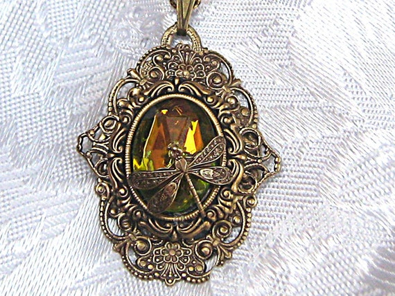 Victorian Style Brass Filigree Pendant Necklace With Glass Gem And Dragonfly