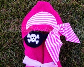 Hot Pink Pirate Hooded Towel - Great for Beach, pool or Bath - Girls PERSONALIZED